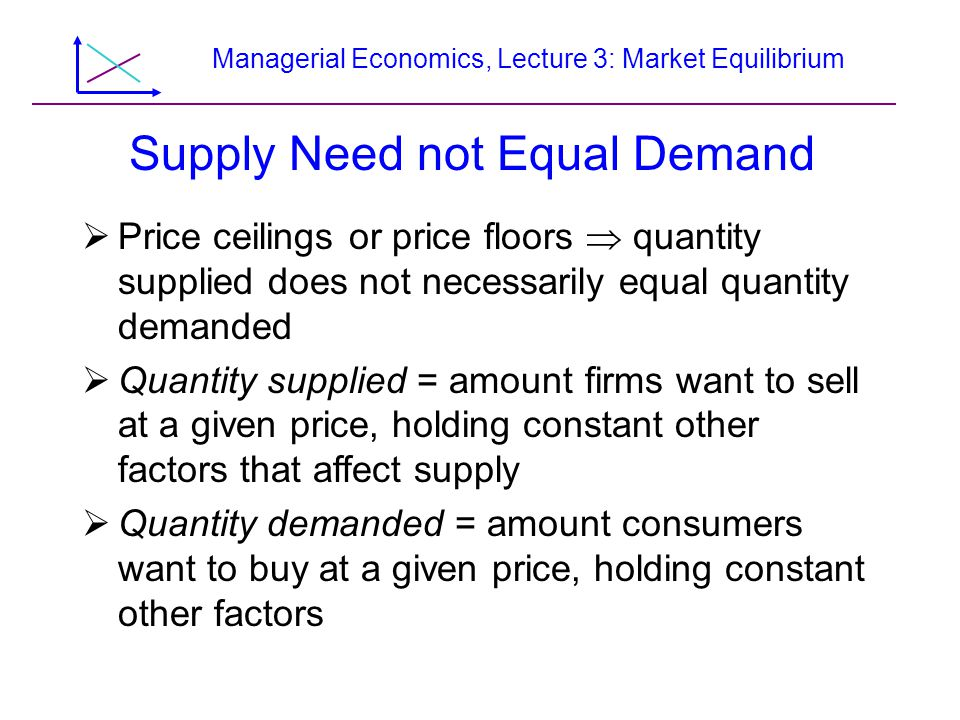 Managerial Economics, Lecture 3: Market Equilibrium Supply Need not Equal Demand Price ceilings or price floors quantity supplied does not necessarily equal quantity demanded Quantity supplied = amount firms want to sell at a given price, holding constant other factors that affect supply Quantity demanded = amount consumers want to buy at a given price, holding constant other factors