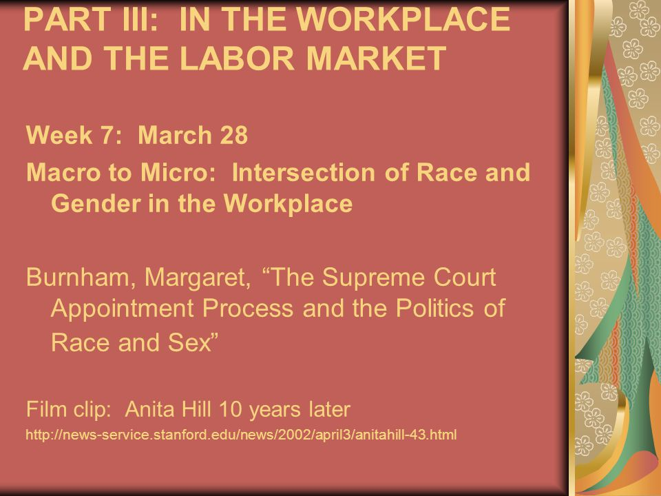 PART III: IN THE WORKPLACE AND THE LABOR MARKET Week 7: March 28 Macro to Micro: Intersection of Race and Gender in the Workplace Burnham, Margaret, The Supreme Court Appointment Process and the Politics of Race and Sex Film clip: Anita Hill 10 years later http://news-service.stanford.edu/news/2002/april3/anitahill-43.html