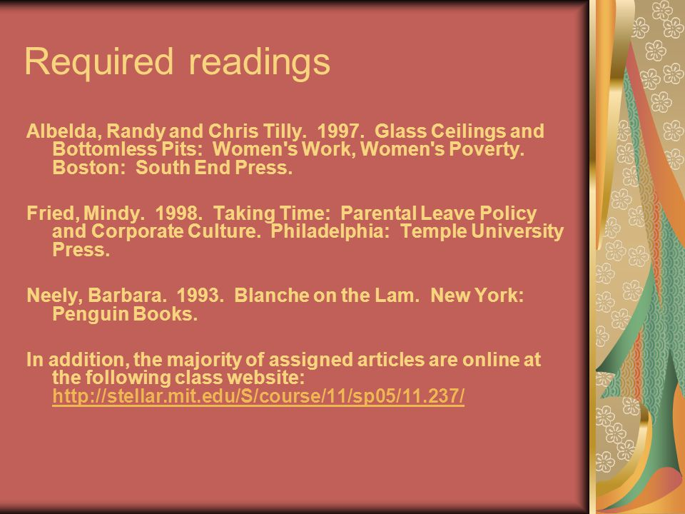 Required readings Albelda, Randy and Chris Tilly. 1997.