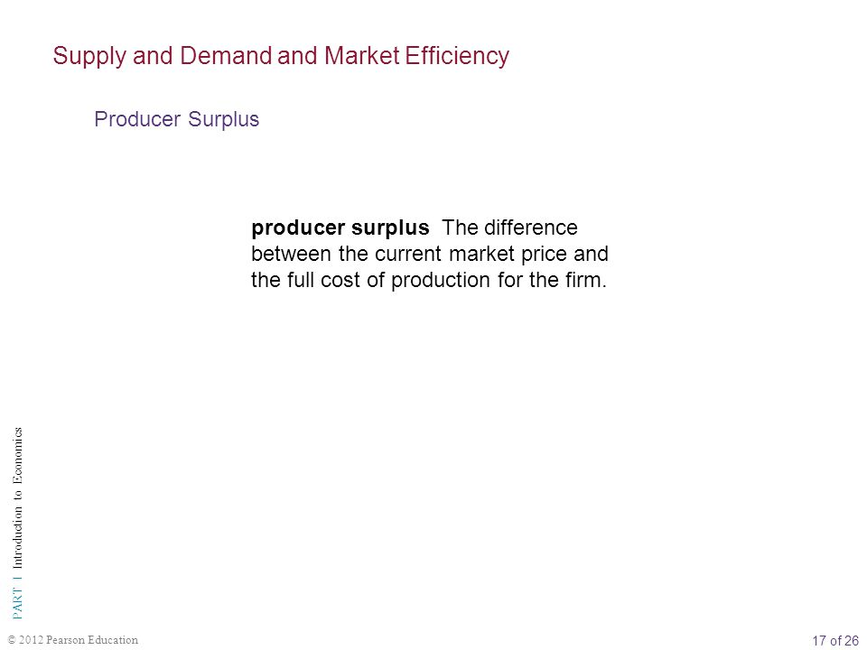 17 of 26 PART I Introduction to Economics © 2012 Pearson Education producer surplus The difference between the current market price and the full cost of production for the firm.
