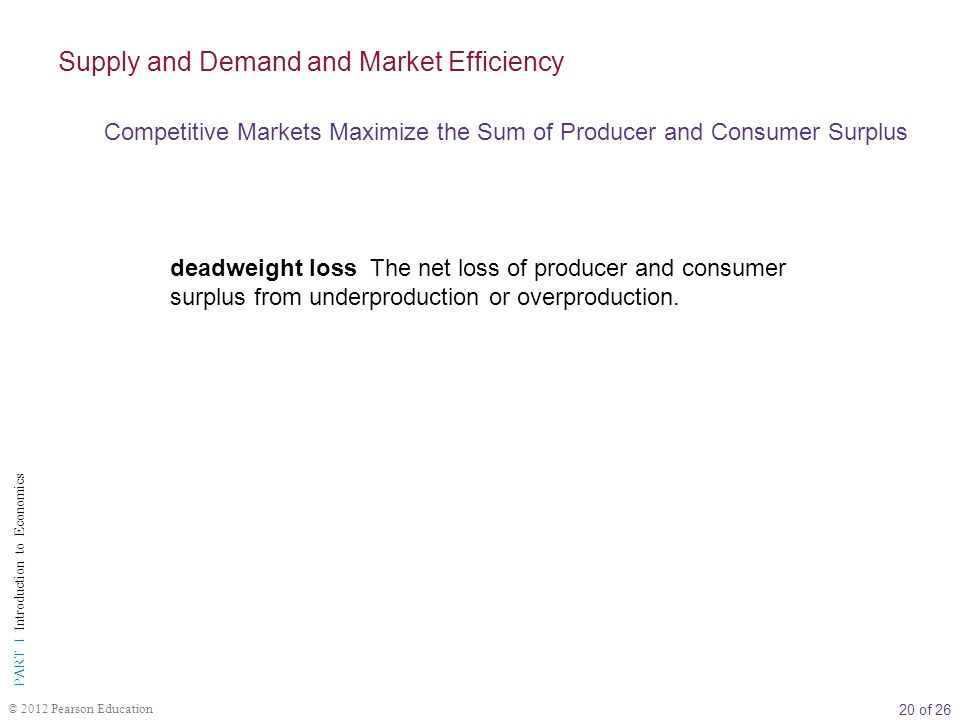 20 of 26 PART I Introduction to Economics © 2012 Pearson Education deadweight loss The net loss of producer and consumer surplus from underproduction or overproduction.