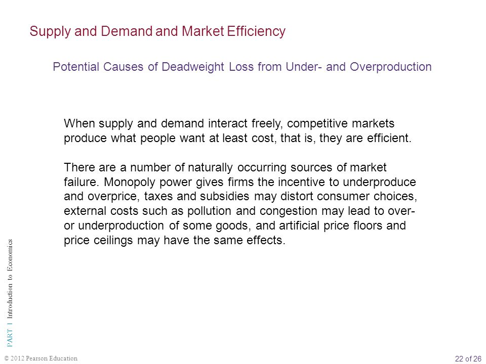 22 of 26 PART I Introduction to Economics © 2012 Pearson Education When supply and demand interact freely, competitive markets produce what people want at least cost, that is, they are efficient.