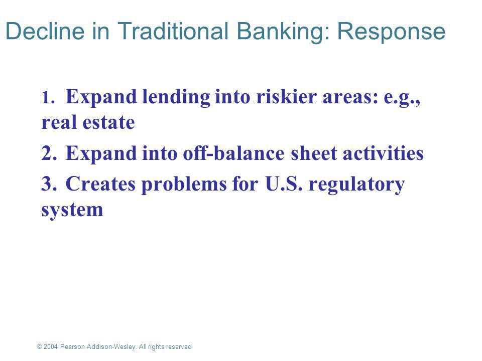 © 2004 Pearson Addison-Wesley. All rights reserved 10-5 Decline in Traditional Banking: Response 1.