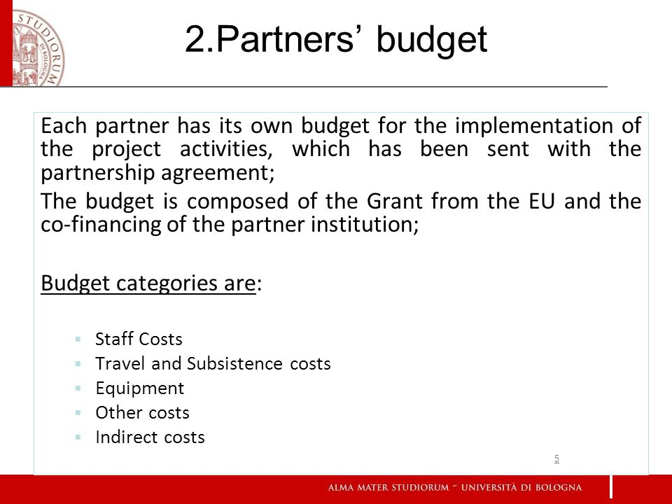 2.Partners budget Each partner has its own budget for the implementation of the project activities, which has been sent with the partnership agreement; The budget is composed of the Grant from the EU and the co-financing of the partner institution; Budget categories are: Staff Costs Travel and Subsistence costs Equipment Other costs Indirect costs 5