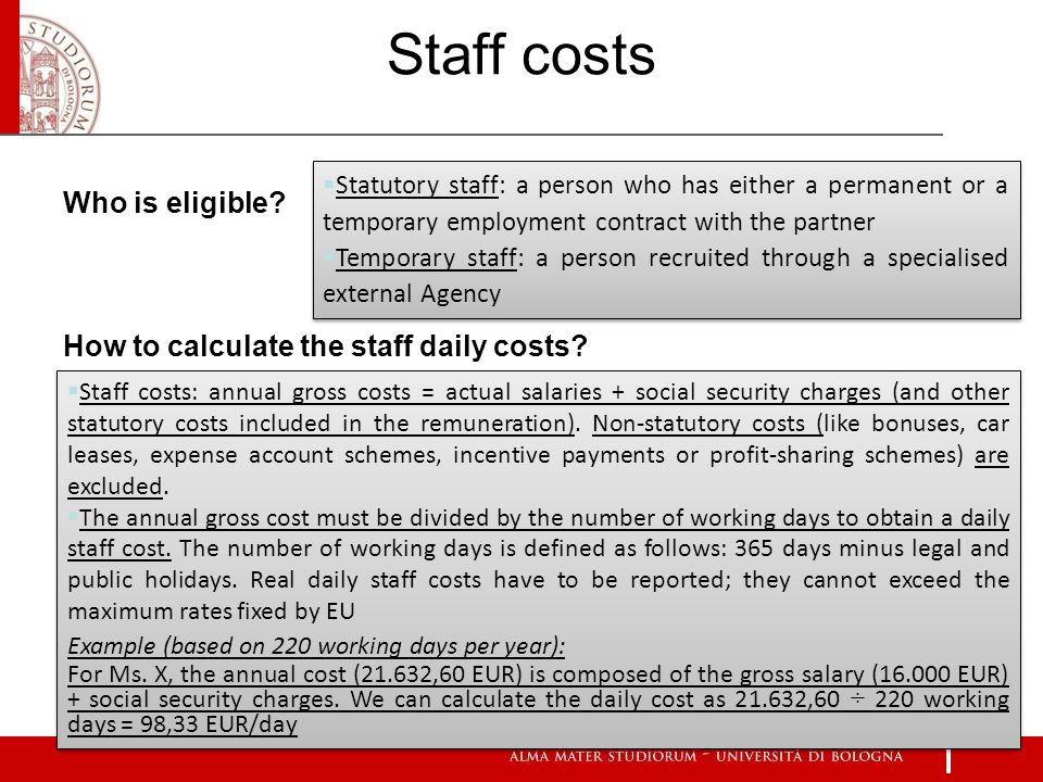 7 Who is eligible. How to calculate the staff daily costs.