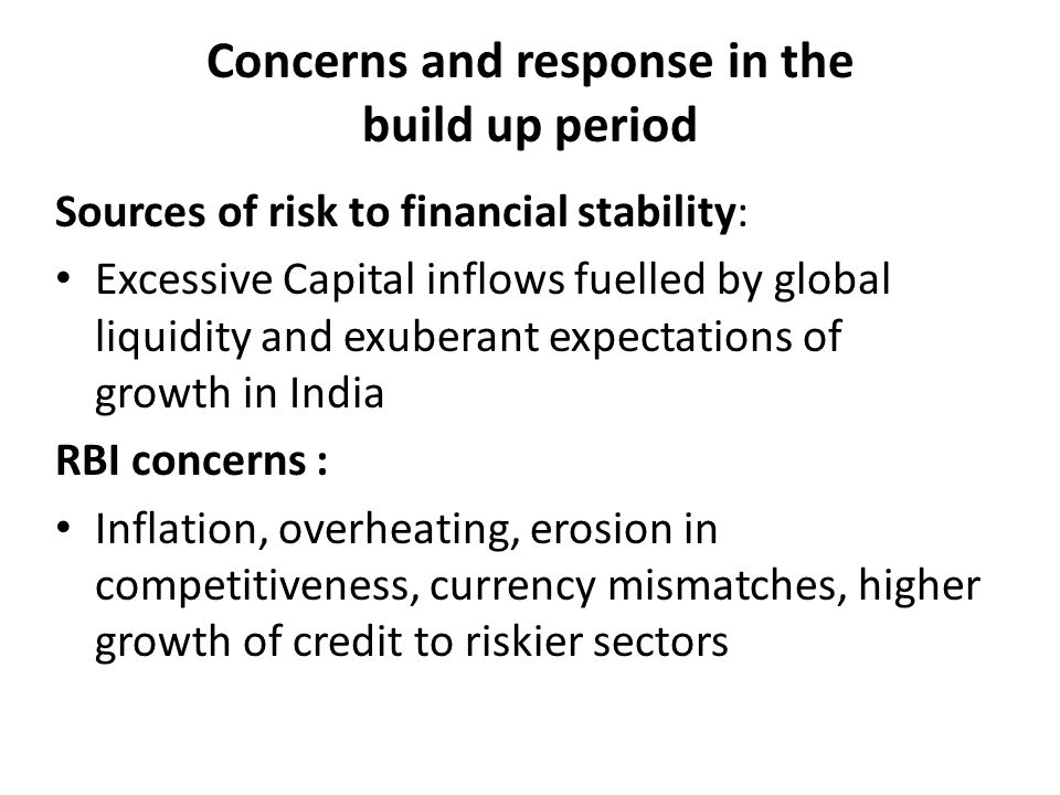 Concerns and response in the build up period Sources of risk to financial stability: Excessive Capital inflows fuelled by global liquidity and exuberant expectations of growth in India RBI concerns : Inflation, overheating, erosion in competitiveness, currency mismatches, higher growth of credit to riskier sectors