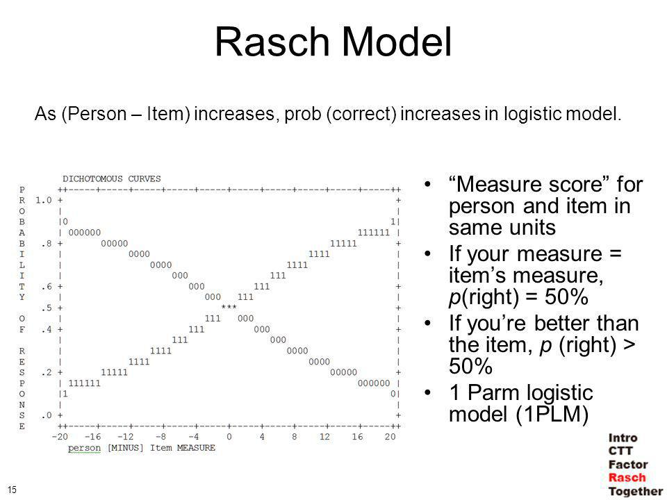 15 Rasch Model Measure score for person and item in same units If your measure = items measure, p(right) = 50% If youre better than the item, p (right) > 50% 1 Parm logistic model (1PLM) As (Person – Item) increases, prob (correct) increases in logistic model.