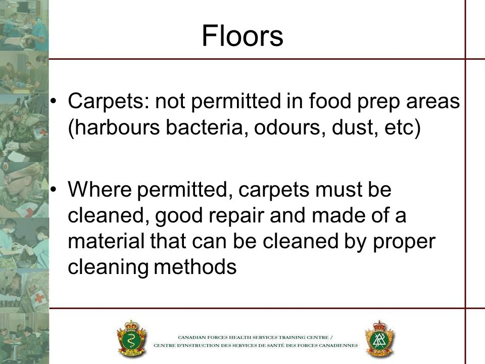 Floors Carpets: not permitted in food prep areas (harbours bacteria, odours, dust, etc) Where permitted, carpets must be cleaned, good repair and made of a material that can be cleaned by proper cleaning methods