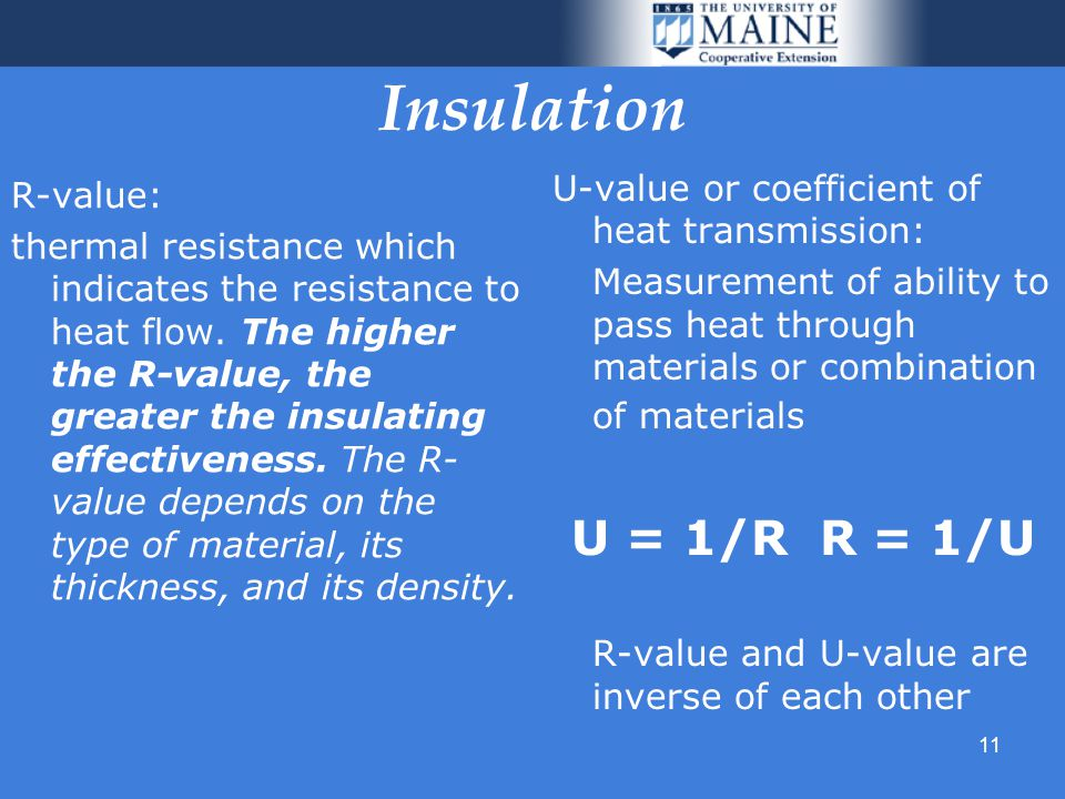 11 Insulation R-value: thermal resistance which indicates the resistance to heat flow.