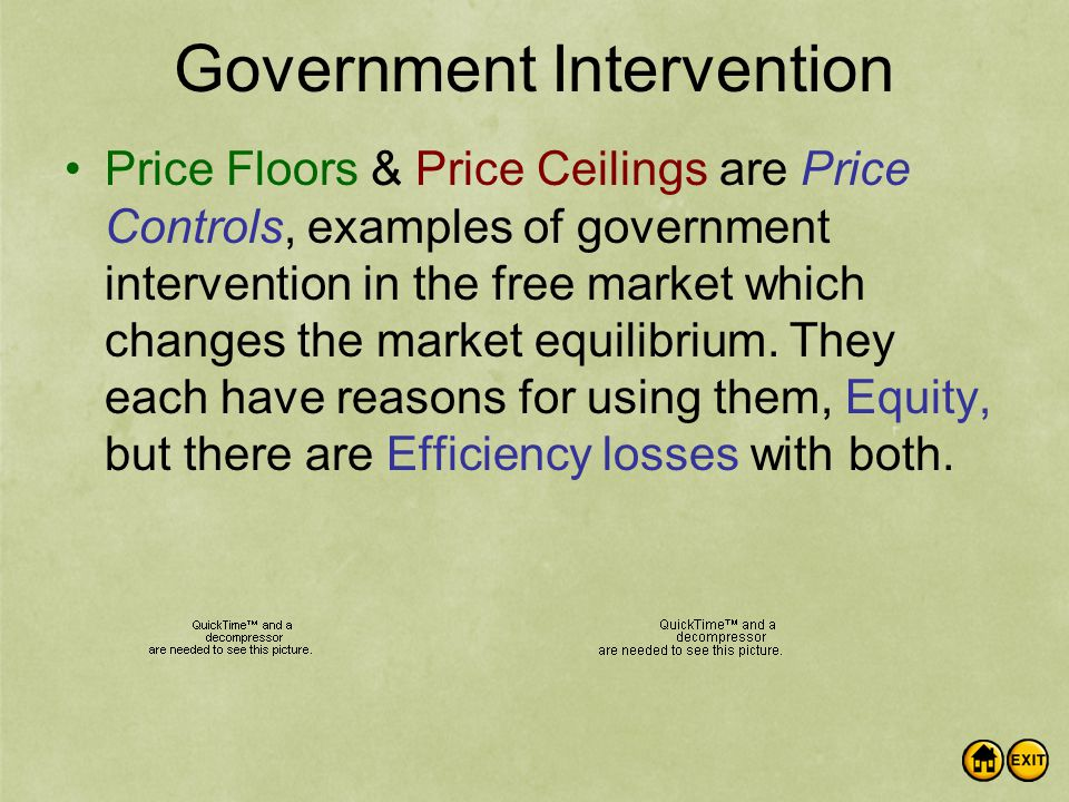 Government Intervention Price Floors & Price Ceilings are Price Controls, examples of government intervention in the free market which changes the market equilibrium.
