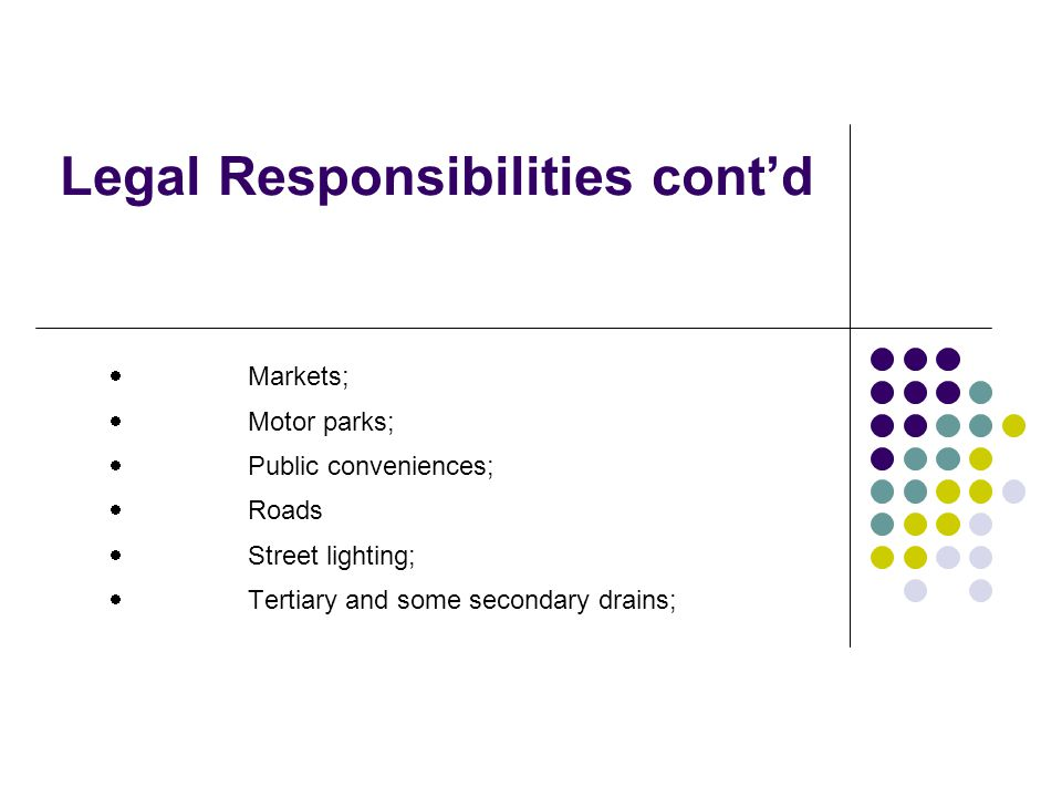 Legal Responsibilities contd Markets; Motor parks; Public conveniences; Roads Street lighting; Tertiary and some secondary drains;