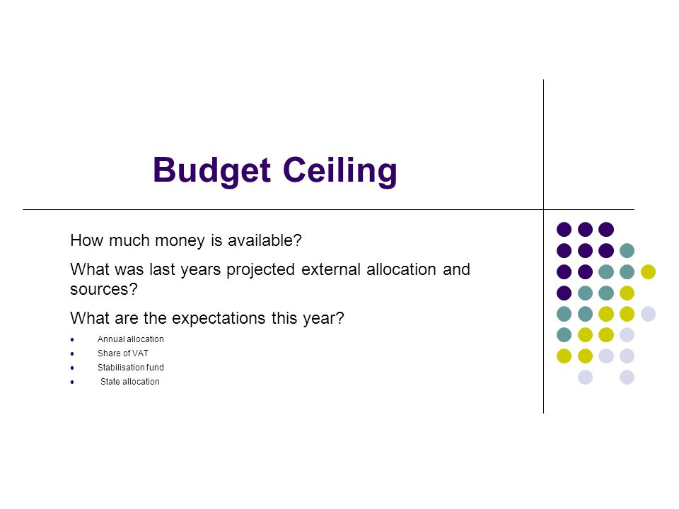 Budget Ceiling How much money is available.