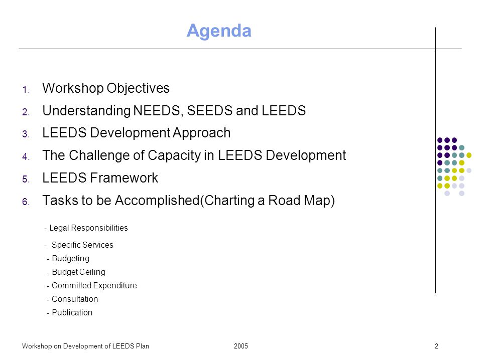 2005Workshop on Development of LEEDS Plan2 Agenda 1.