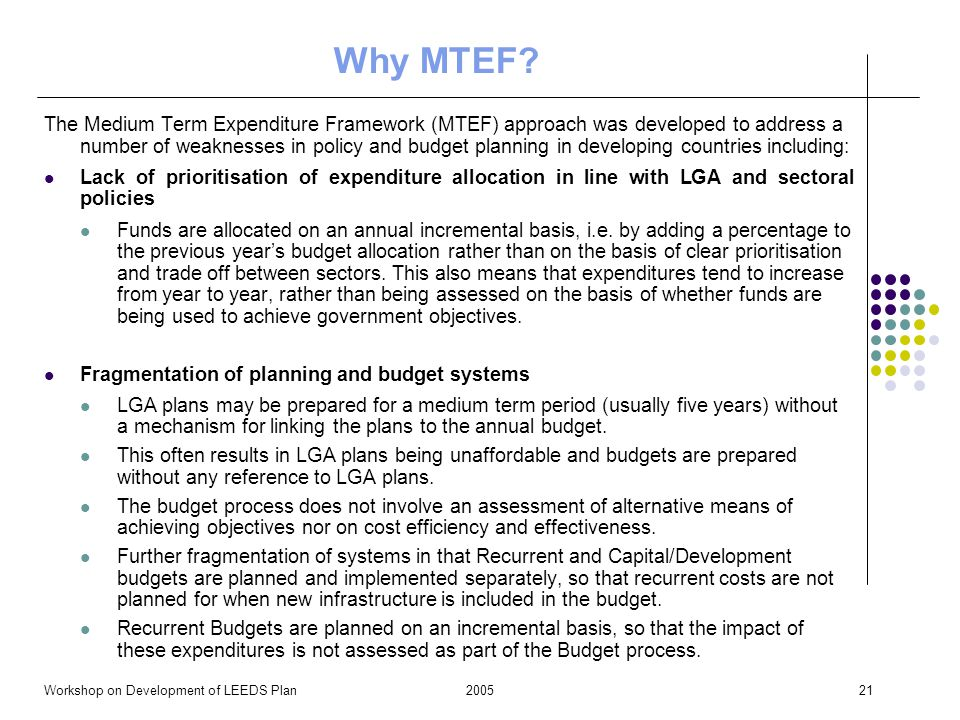 2005Workshop on Development of LEEDS Plan21 Why MTEF.