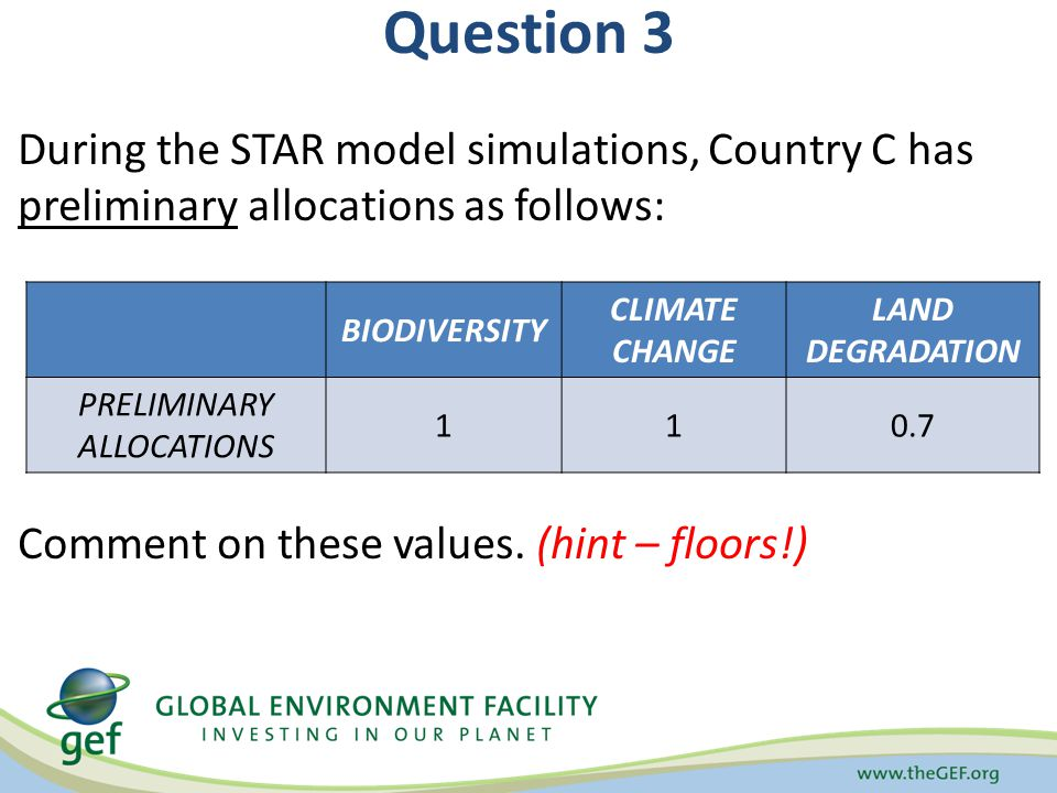 Question 3 During the STAR model simulations, Country C has preliminary allocations as follows: Comment on these values.