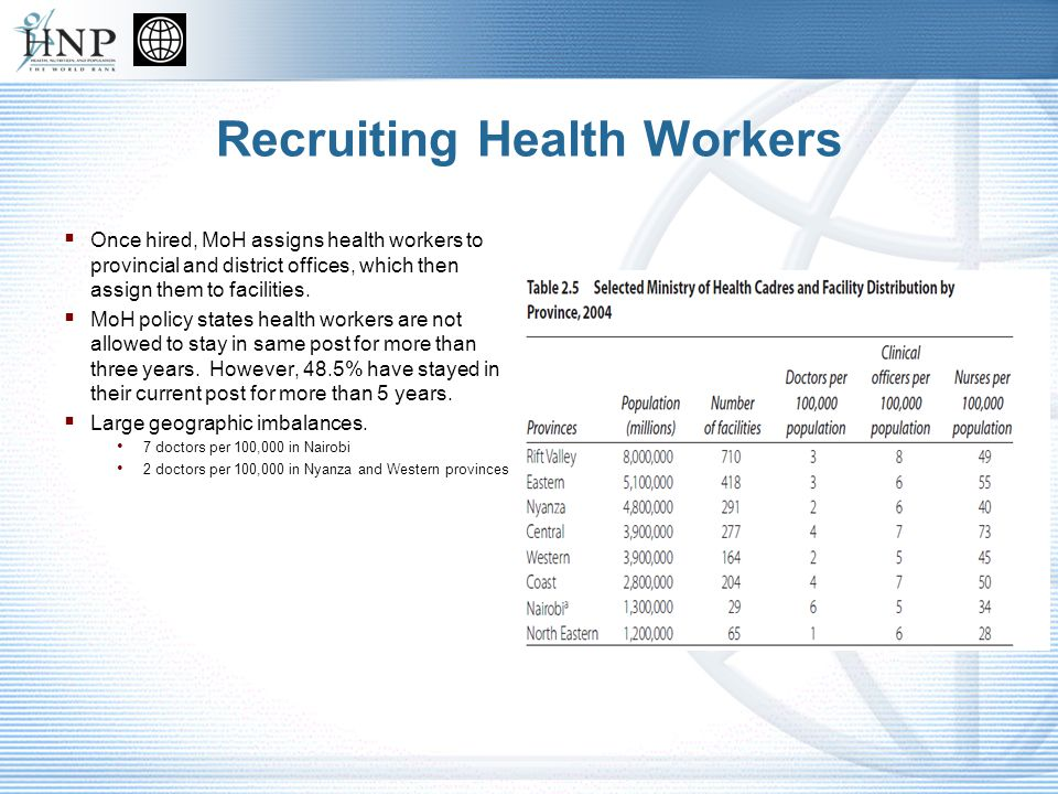 Recruiting Health Workers Once hired, MoH assigns health workers to provincial and district offices, which then assign them to facilities.