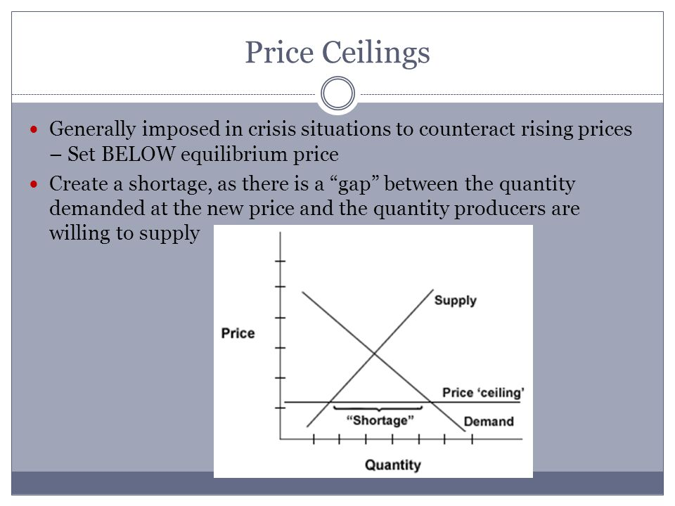 Price Ceilings Generally imposed in crisis situations to counteract rising prices – Set BELOW equilibrium price Create a shortage, as there is a gap between the quantity demanded at the new price and the quantity producers are willing to supply