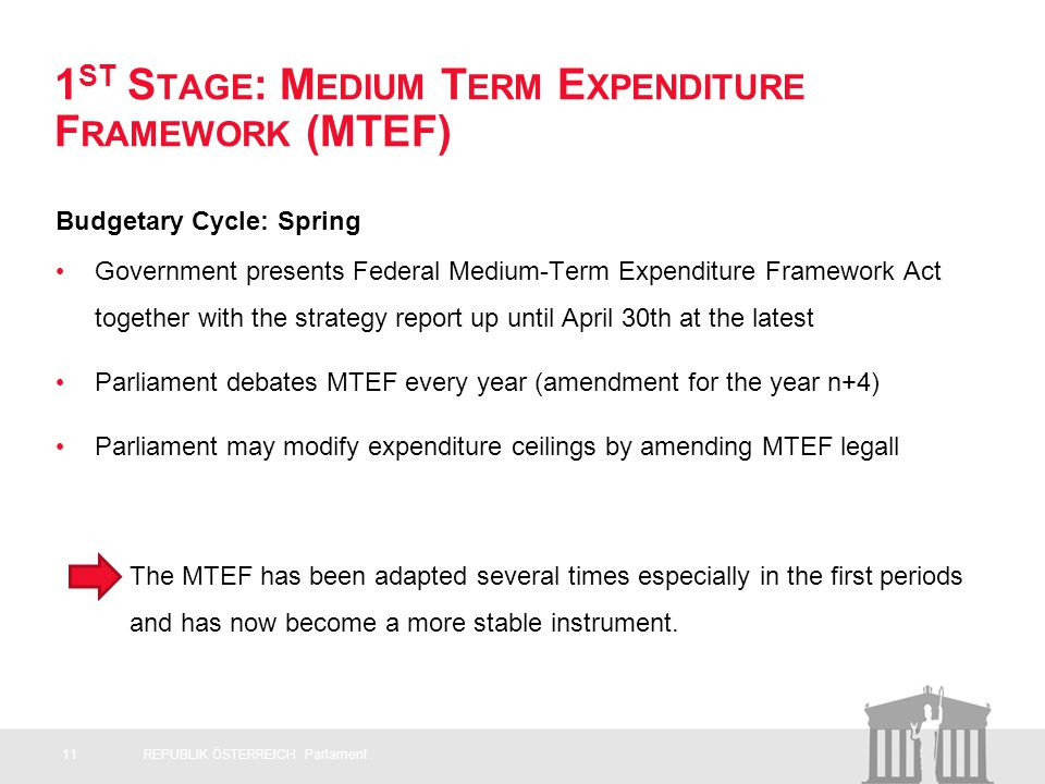 1 ST S TAGE : M EDIUM T ERM E XPENDITURE F RAMEWORK (MTEF) Budgetary Cycle: Spring Government presents Federal Medium-Term Expenditure Framework Act together with the strategy report up until April 30th at the latest Parliament debates MTEF every year (amendment for the year n+4) Parliament may modify expenditure ceilings by amending MTEF legall The MTEF has been adapted several times especially in the first periods and has now become a more stable instrument.