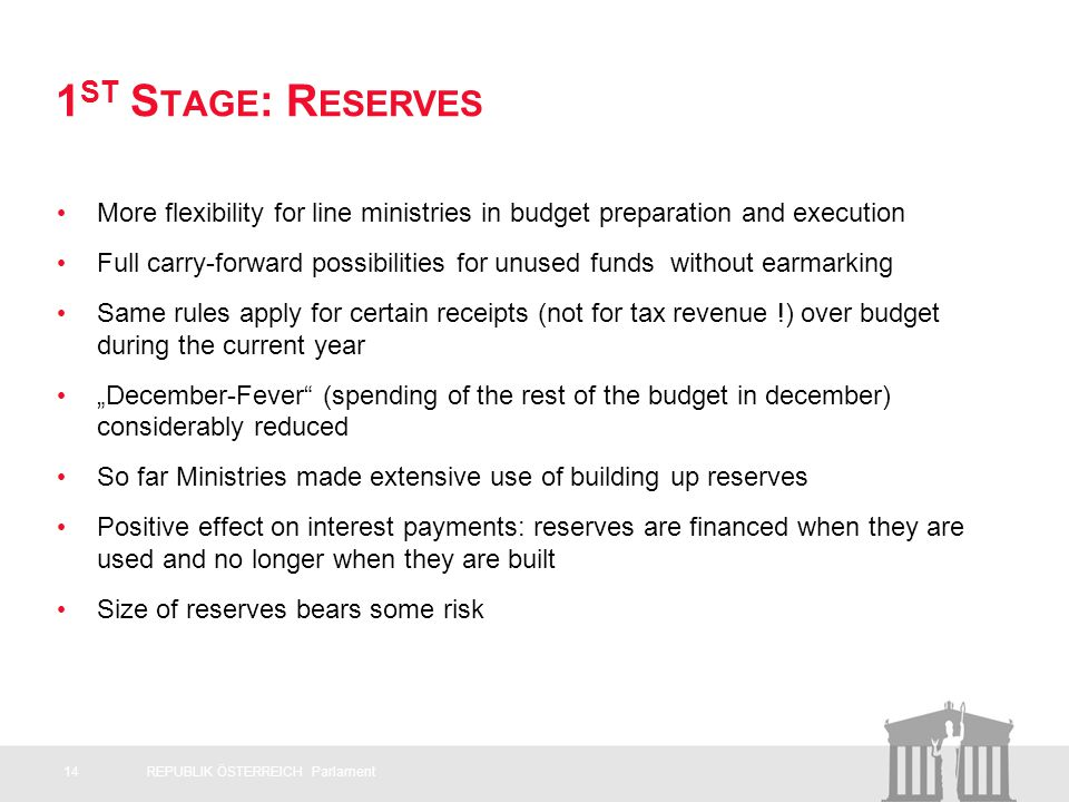 1 ST S TAGE : R ESERVES More flexibility for line ministries in budget preparation and execution Full carry-forward possibilities for unused funds without earmarking Same rules apply for certain receipts (not for tax revenue !) over budget during the current year December-Fever (spending of the rest of the budget in december) considerably reduced So far Ministries made extensive use of building up reserves Positive effect on interest payments: reserves are financed when they are used and no longer when they are built Size of reserves bears some risk - > 14REPUBLIK ÖSTERREICH Parlament