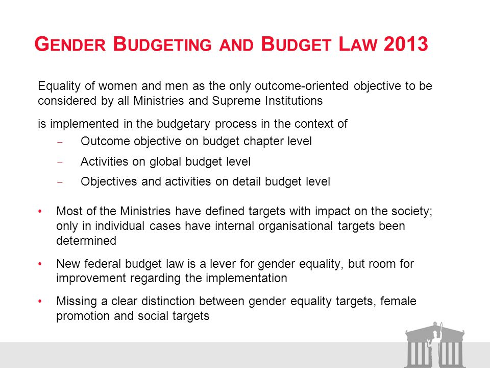 G ENDER B UDGETING AND B UDGET L AW 2013 Equality of women and men as the only outcome-oriented objective to be considered by all Ministries and Supreme Institutions is implemented in the budgetary process in the context of Outcome objective on budget chapter level Activities on global budget level Objectives and activities on detail budget level Most of the Ministries have defined targets with impact on the society; only in individual cases have internal organisational targets been determined New federal budget law is a lever for gender equality, but room for improvement regarding the implementation Missing a clear distinction between gender equality targets, female promotion and social targets