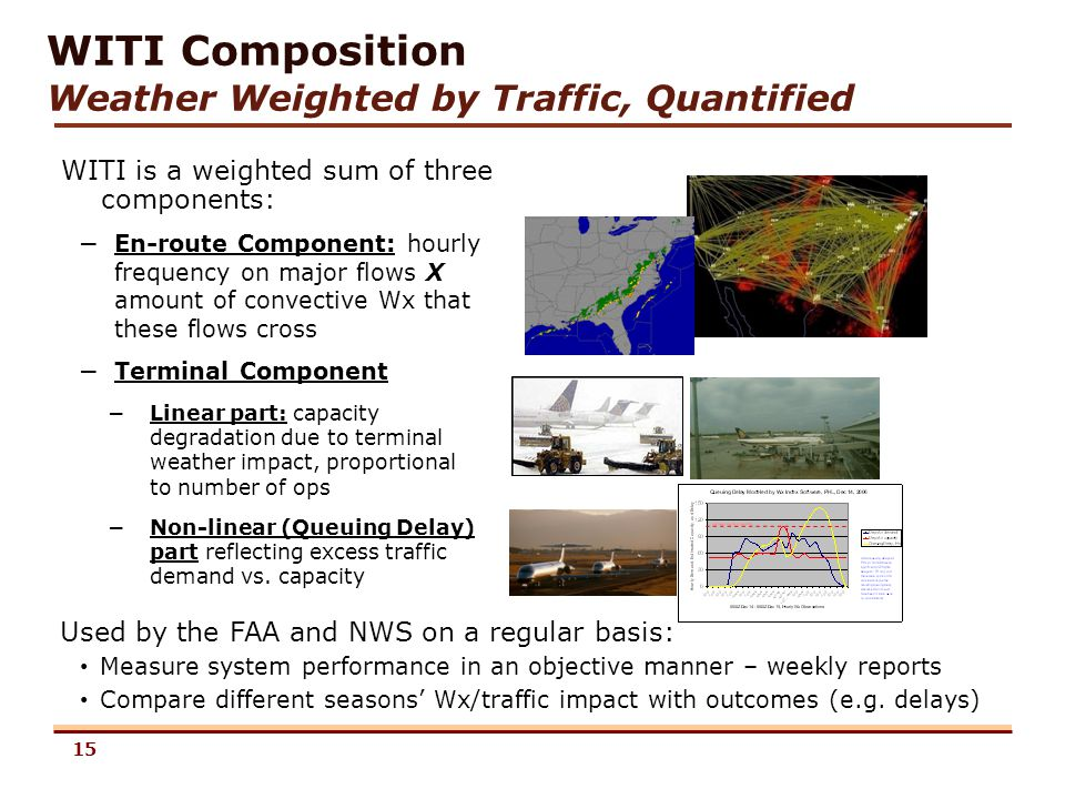 15 WITI is a weighted sum of three components: WITI Composition Weather Weighted by Traffic, Quantified – En-route Component: hourly frequency on major flows X amount of convective Wx that these flows cross – Terminal Component 15 Used by the FAA and NWS on a regular basis: Measure system performance in an objective manner – weekly reports Compare different seasons Wx/traffic impact with outcomes (e.g.