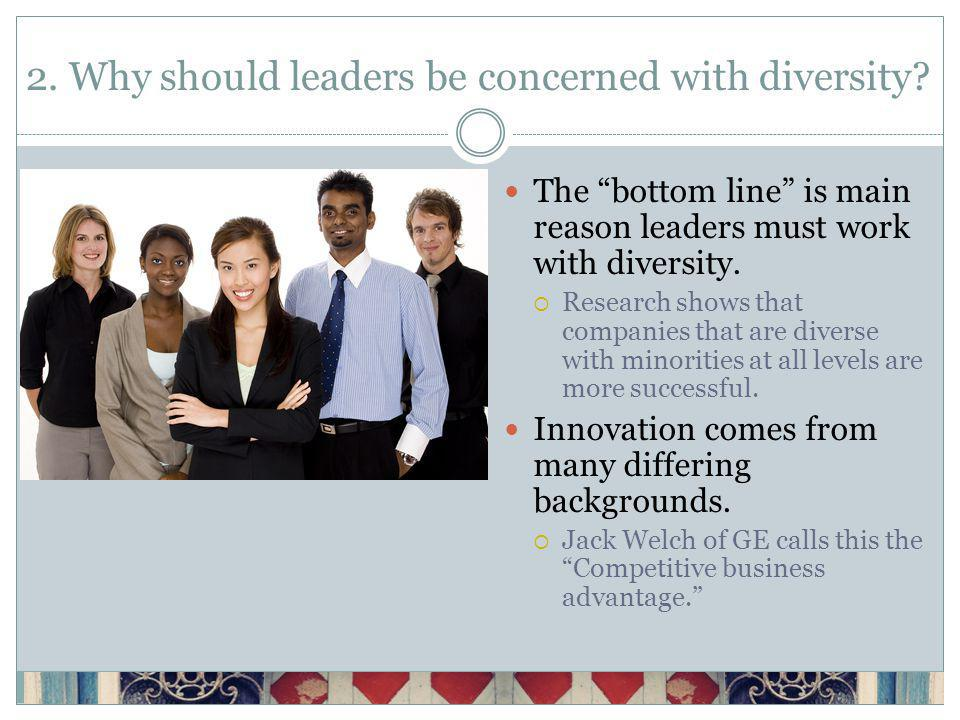 2. Why should leaders be concerned with diversity.