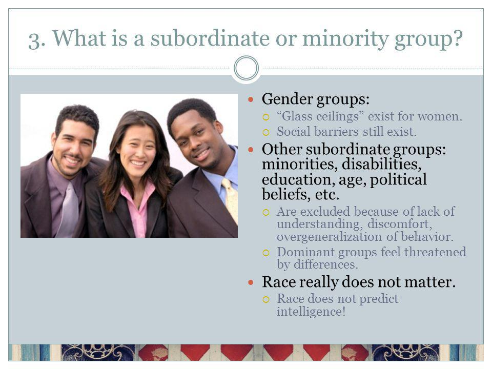 3. What is a subordinate or minority group. Gender groups: Glass ceilings exist for women.