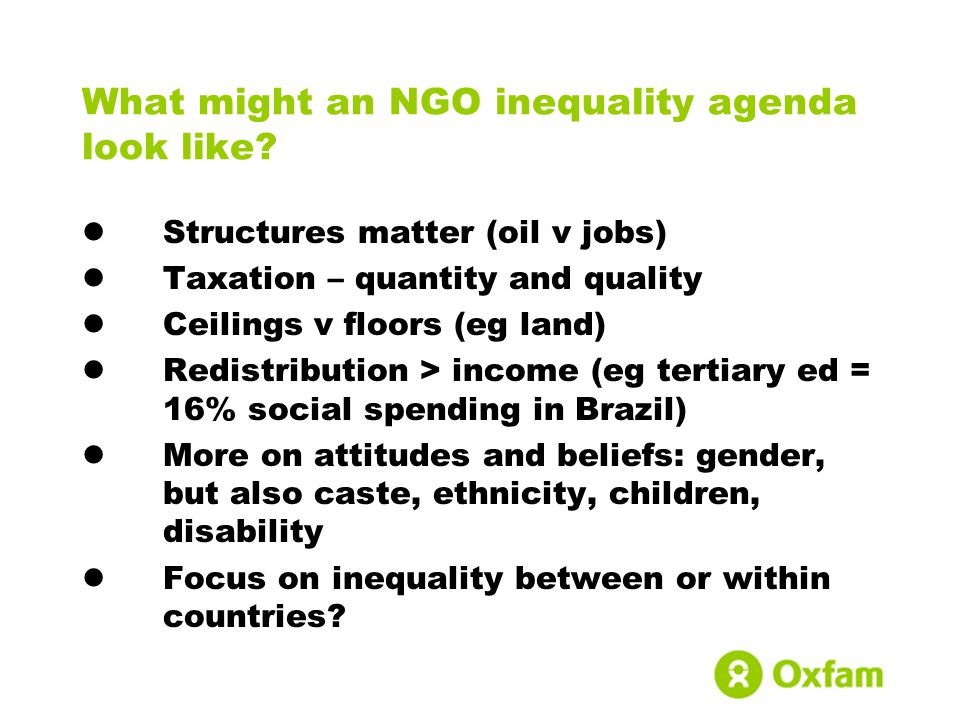 What might an NGO inequality agenda look like.