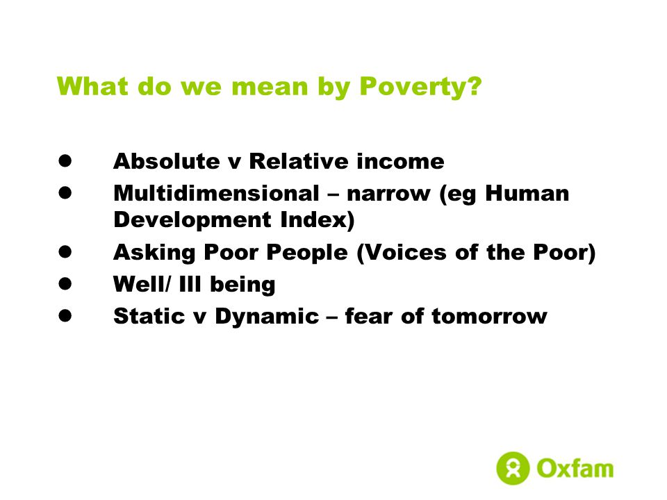 What do we mean by Poverty.