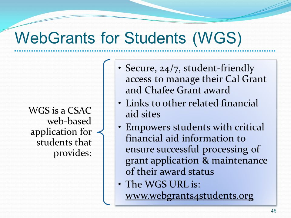 WGS is a CSAC web-based application for students that provides: Secure, 24/7, student-friendly access to manage their Cal Grant and Chafee Grant award Links to other related financial aid sites Empowers students with critical financial aid information to ensure successful processing of grant application & maintenance of their award status The WGS URL is: www.webgrants4students.org 46