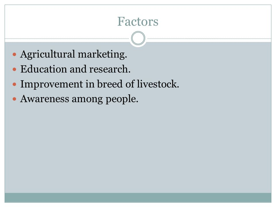 Factors Agricultural marketing. Education and research.