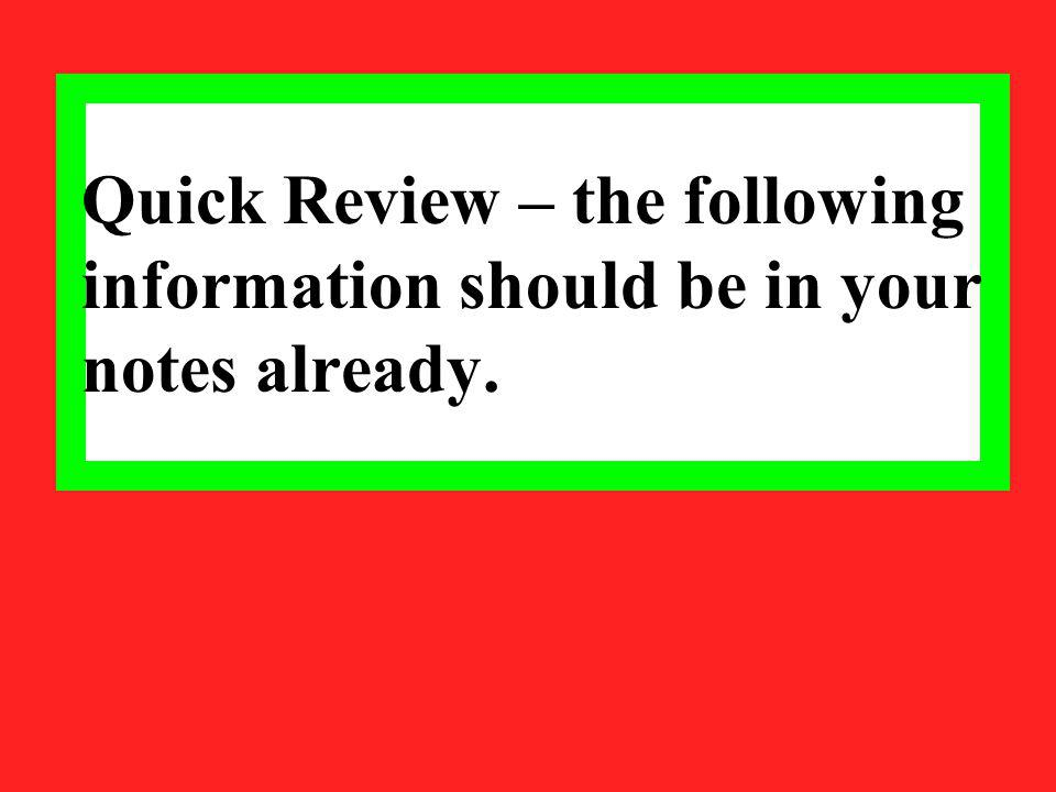 Quick Review – the following information should be in your notes already.