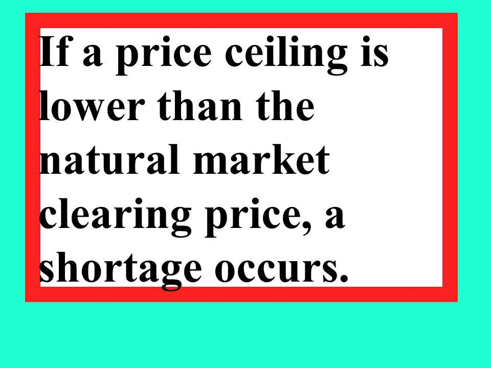 If a price ceiling is lower than the natural market clearing price, a shortage occurs.