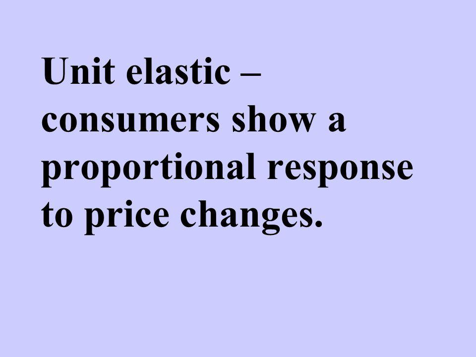 Unit elastic – consumers show a proportional response to price changes.