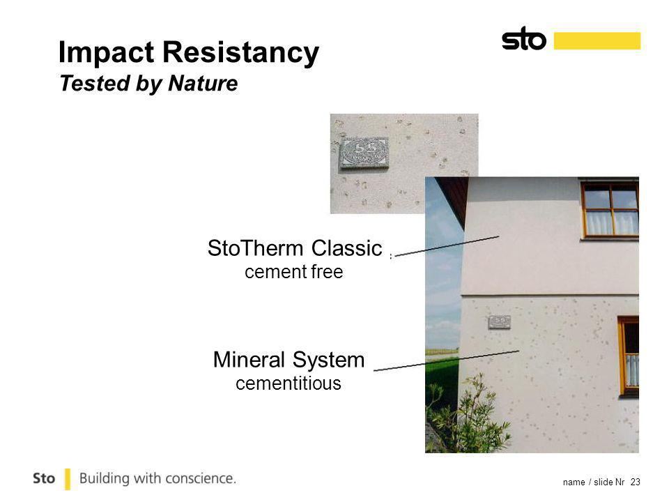 name / slide Nr 23 StoTherm Classic cement free Mineral System cementitious Impact Resistancy Tested by Nature