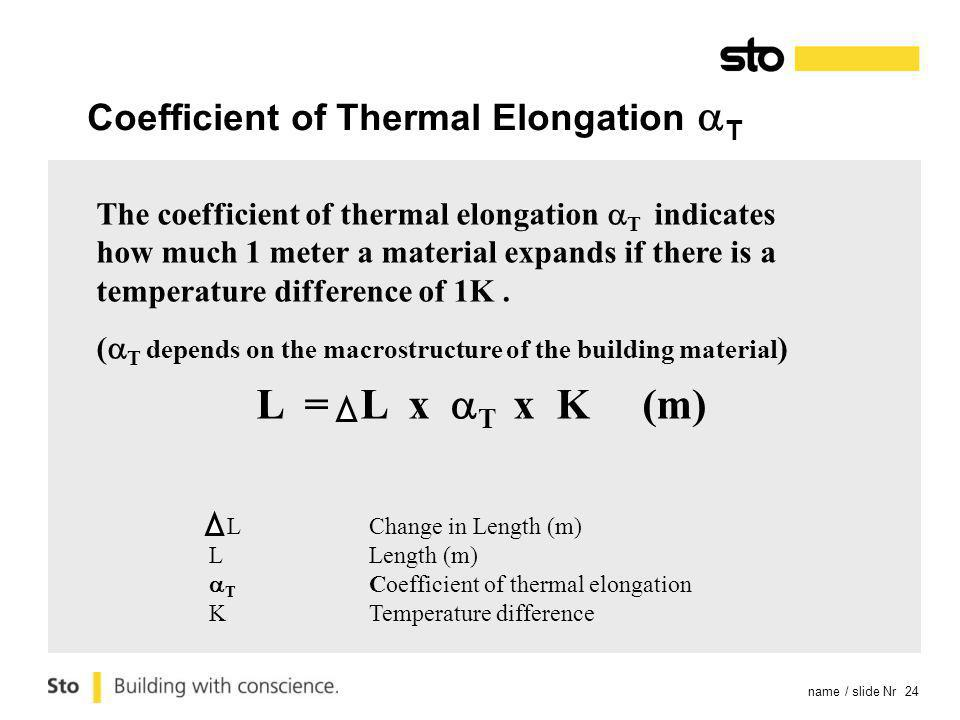 name / slide Nr 24 The coefficient of thermal elongation T indicates how much 1 meter a material expands if there is a temperature difference of 1K.