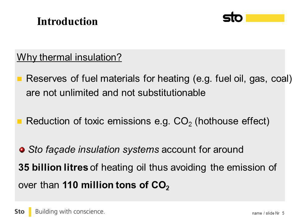 name / slide Nr 5 Introduction Why thermal insulation.