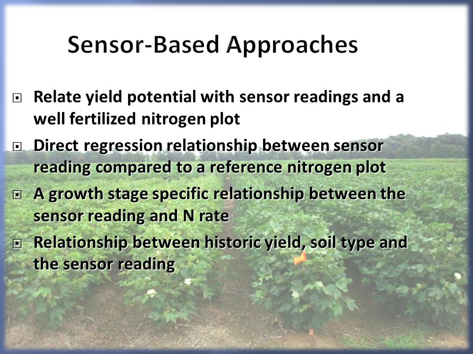 Sensor-Based Approaches Relate yield potential with sensor readings and a well fertilized nitrogen plot Relate yield potential with sensor readings and a well fertilized nitrogen plot Direct regression relationship between sensor reading compared to a reference nitrogen plot Direct regression relationship between sensor reading compared to a reference nitrogen plot A growth stage specific relationship between the sensor reading and N rate A growth stage specific relationship between the sensor reading and N rate Relationship between historic yield, soil type and the sensor reading Relationship between historic yield, soil type and the sensor reading