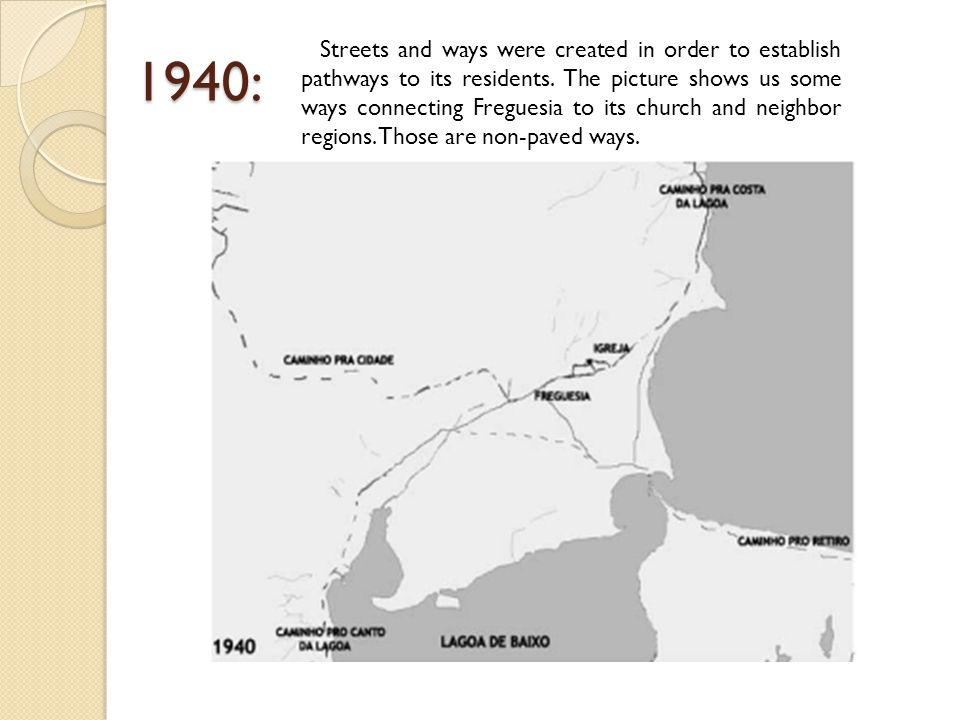1940: Streets and ways were created in order to establish pathways to its residents.