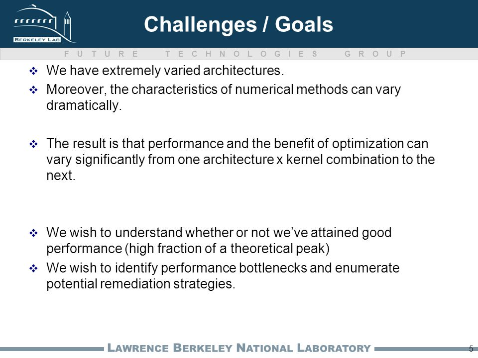 FUTURE TECHNOLOGIES GROUP L AWRENCE B ERKELEY N ATIONAL L ABORATORY Challenges / Goals We have extremely varied architectures.