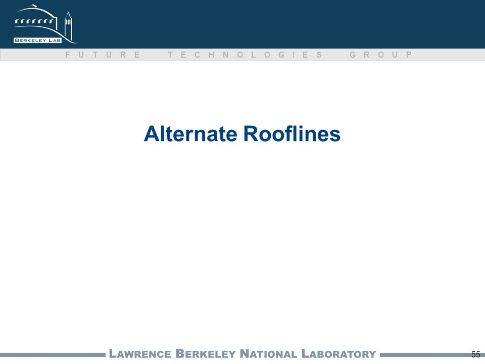 L AWRENCE B ERKELEY N ATIONAL L ABORATORY FUTURE TECHNOLOGIES GROUP Alternate Rooflines 55