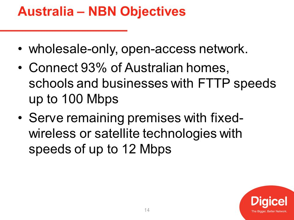 Australia – NBN Objectives wholesale-only, open-access network.