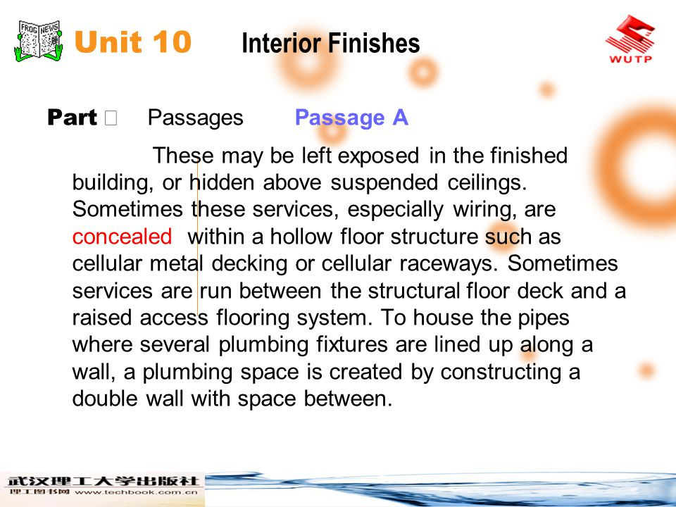 Unit 10 Interior Finishes Part Passages Passage A These may be left exposed in the finished building, or hidden above suspended ceilings.