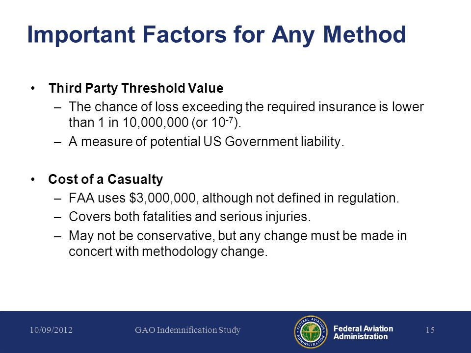 Federal Aviation Administration Important Factors for Any Method Third Party Threshold Value –The chance of loss exceeding the required insurance is lower than 1 in 10,000,000 (or 10 -7 ).