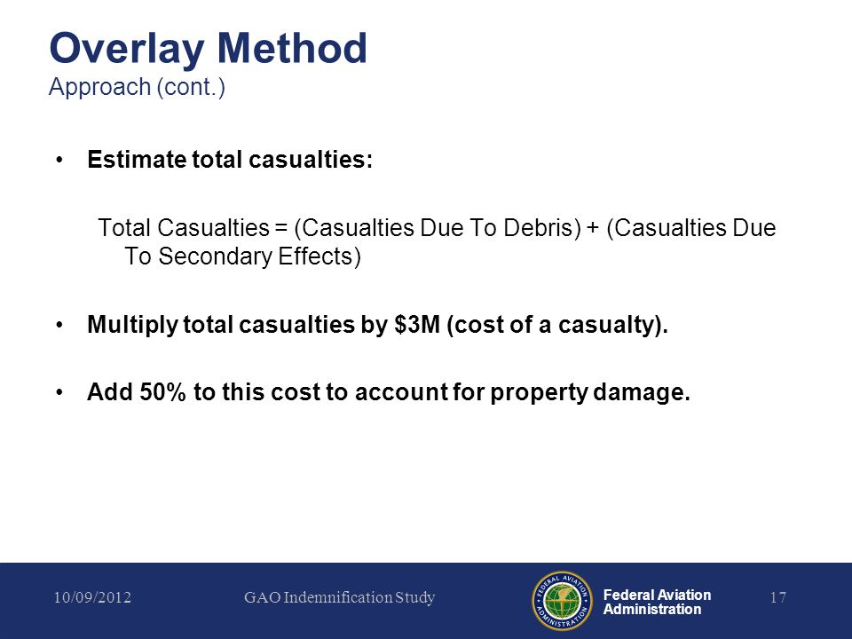 Federal Aviation Administration Overlay Method Approach (cont.) Estimate total casualties: Total Casualties = (Casualties Due To Debris) + (Casualties Due To Secondary Effects) Multiply total casualties by $3M (cost of a casualty).