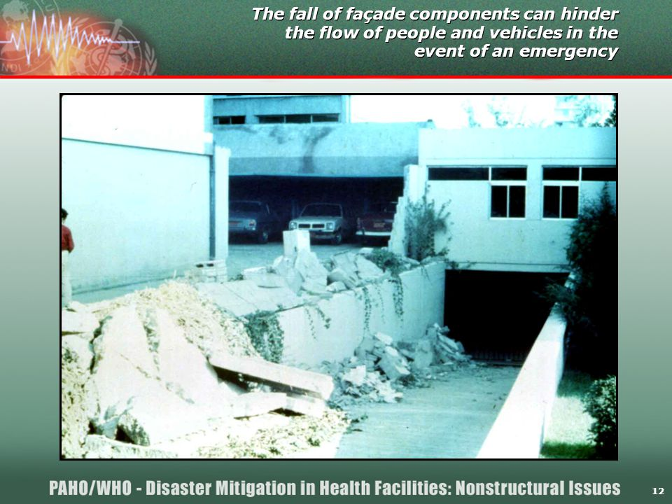 12 The fall of façade components can hinder the flow of people and vehicles in the event of an emergency