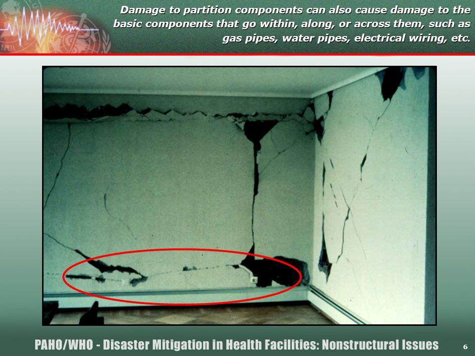 6 Damage to partition components can also cause damage to the basic components that go within, along, or across them, such as gas pipes, water pipes, electrical wiring, etc.