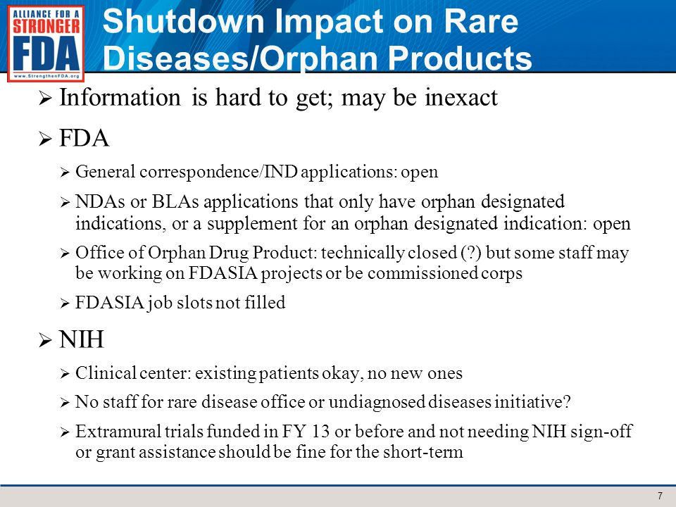 Shutdown Impact on Rare Diseases/Orphan Products Information is hard to get; may be inexact FDA General correspondence/IND applications: open NDAs or BLAs applications that only have orphan designated indications, or a supplement for an orphan designated indication: open Office of Orphan Drug Product: technically closed ( ) but some staff may be working on FDASIA projects or be commissioned corps FDASIA job slots not filled NIH Clinical center: existing patients okay, no new ones No staff for rare disease office or undiagnosed diseases initiative.