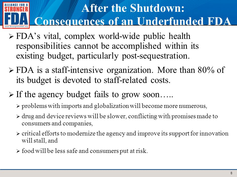 After the Shutdown: Consequences of an Underfunded FDA FDAs vital, complex world-wide public health responsibilities cannot be accomplished within its existing budget, particularly post-sequestration.