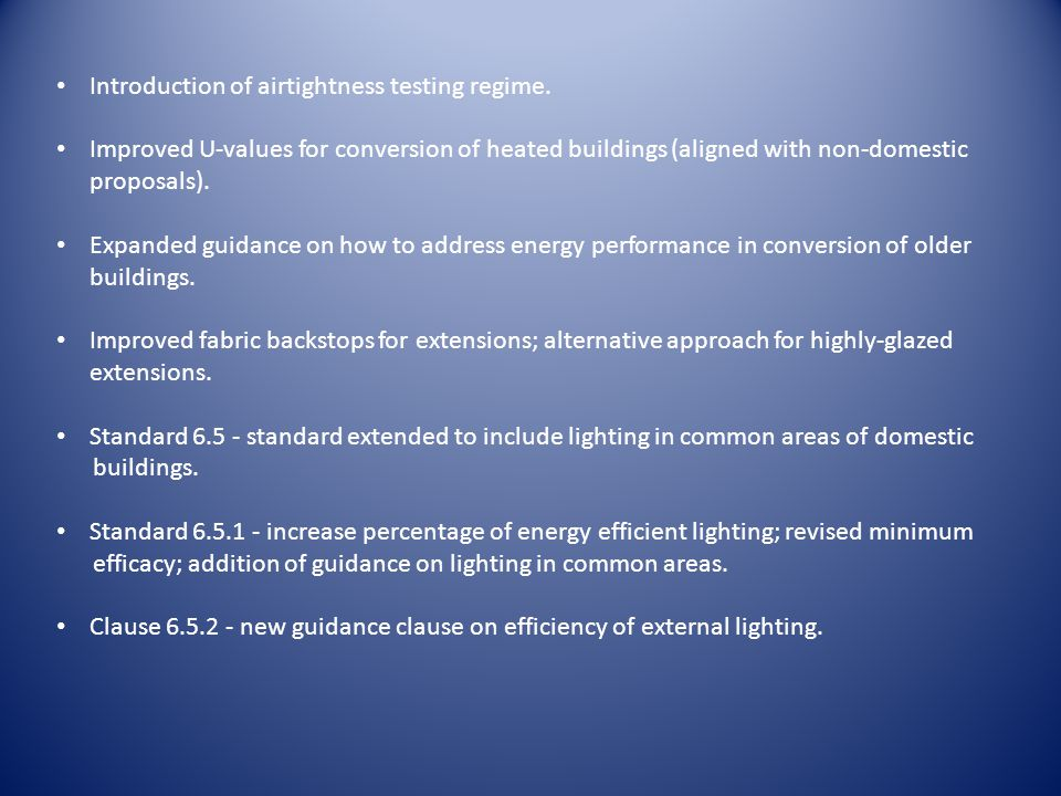 Introduction of airtightness testing regime.